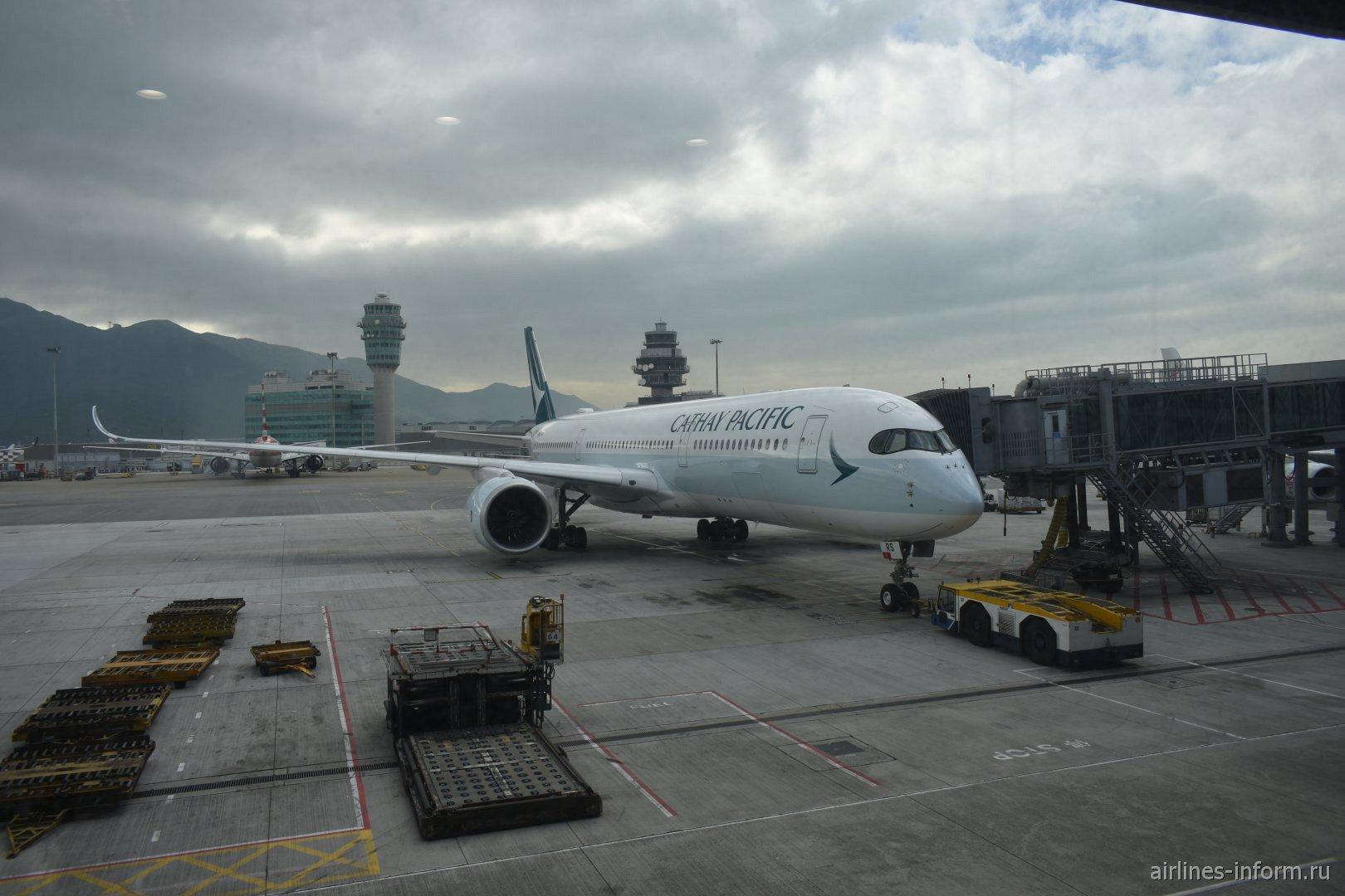 Airbus A350-900 авиакомпании Cathay Pacific в аэропорту Гонконга