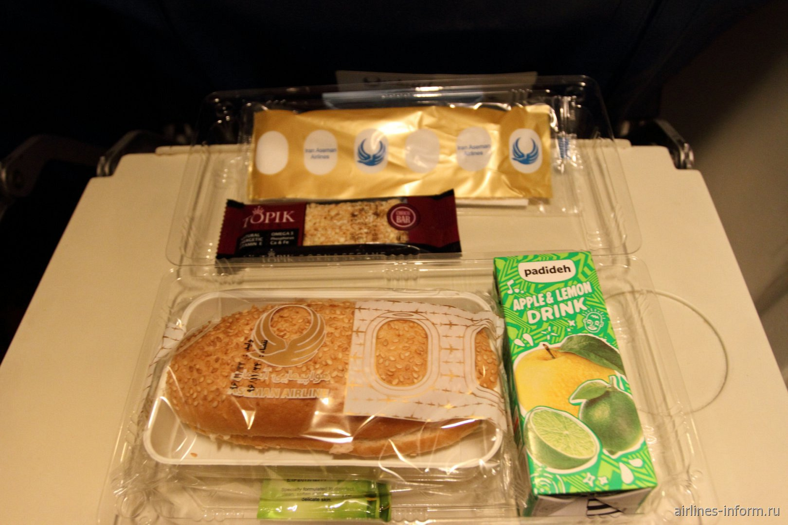 Бортпитание на рейсе Тегеран-Язд авиакомпании Iran Aseman Airlines