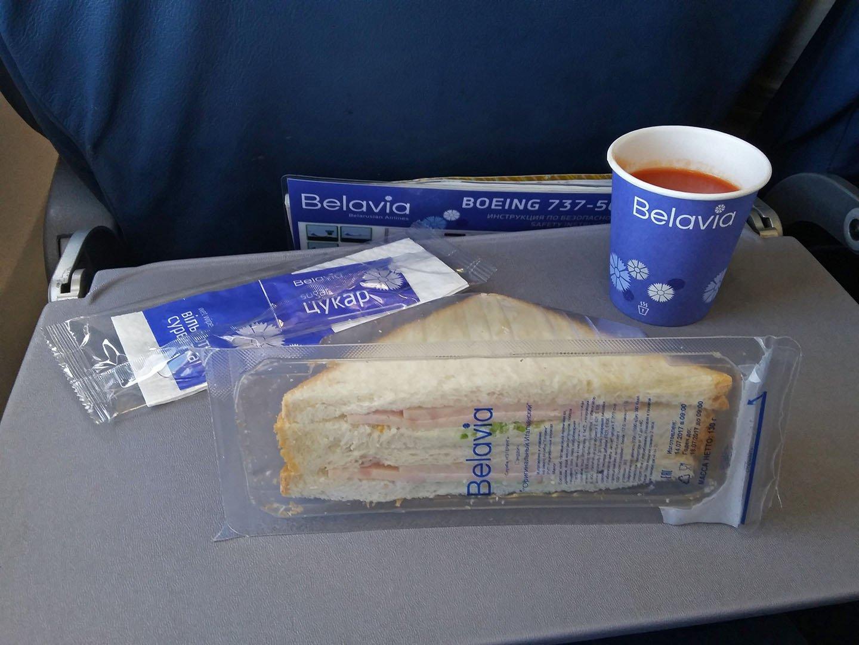 Питание на рейсе Минск-Жуковский авиакомпании