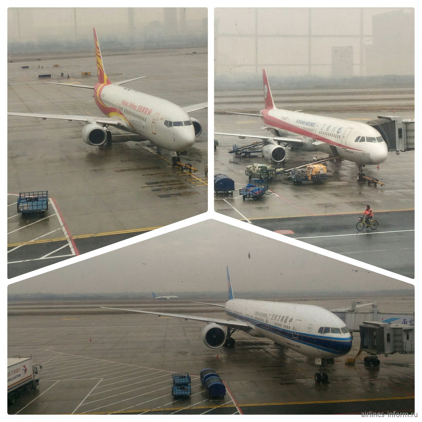 по часовой стрелке: B-737 Hainan Airlines, A321 Sichuan Airlines, B-777-300 China Southern Airlines