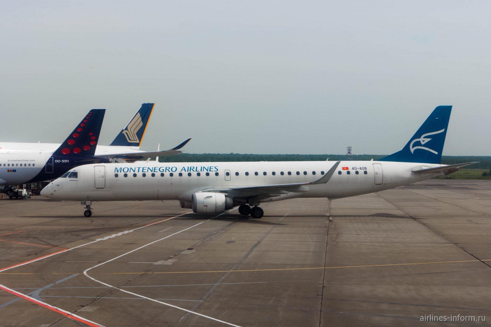Embraer 195 авиакомпании Montenegro Airlines в аэропорту Домодедово