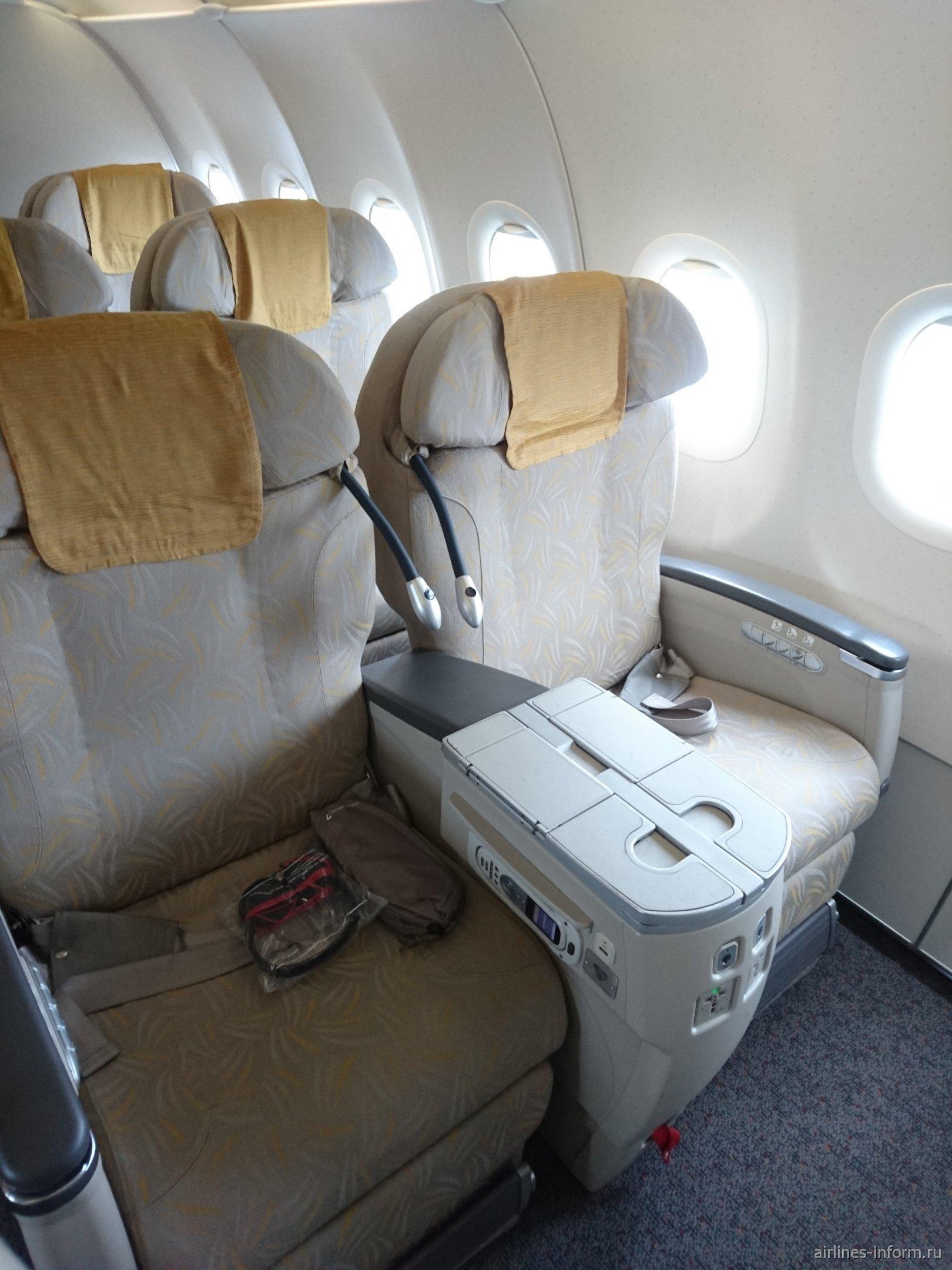 Бизнес-класс в самолете Airbus A321 авиакомпании Asiana Airlines