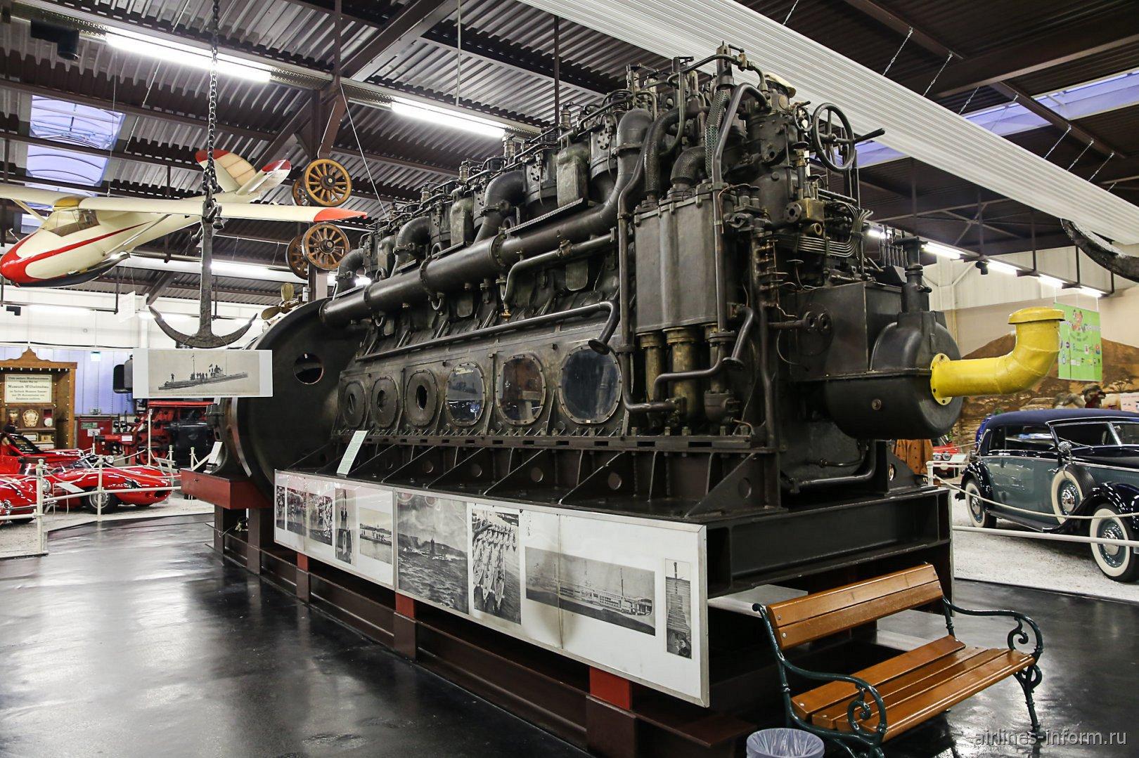 Дизель для подводной лодки в музее техники в Зинсхайме