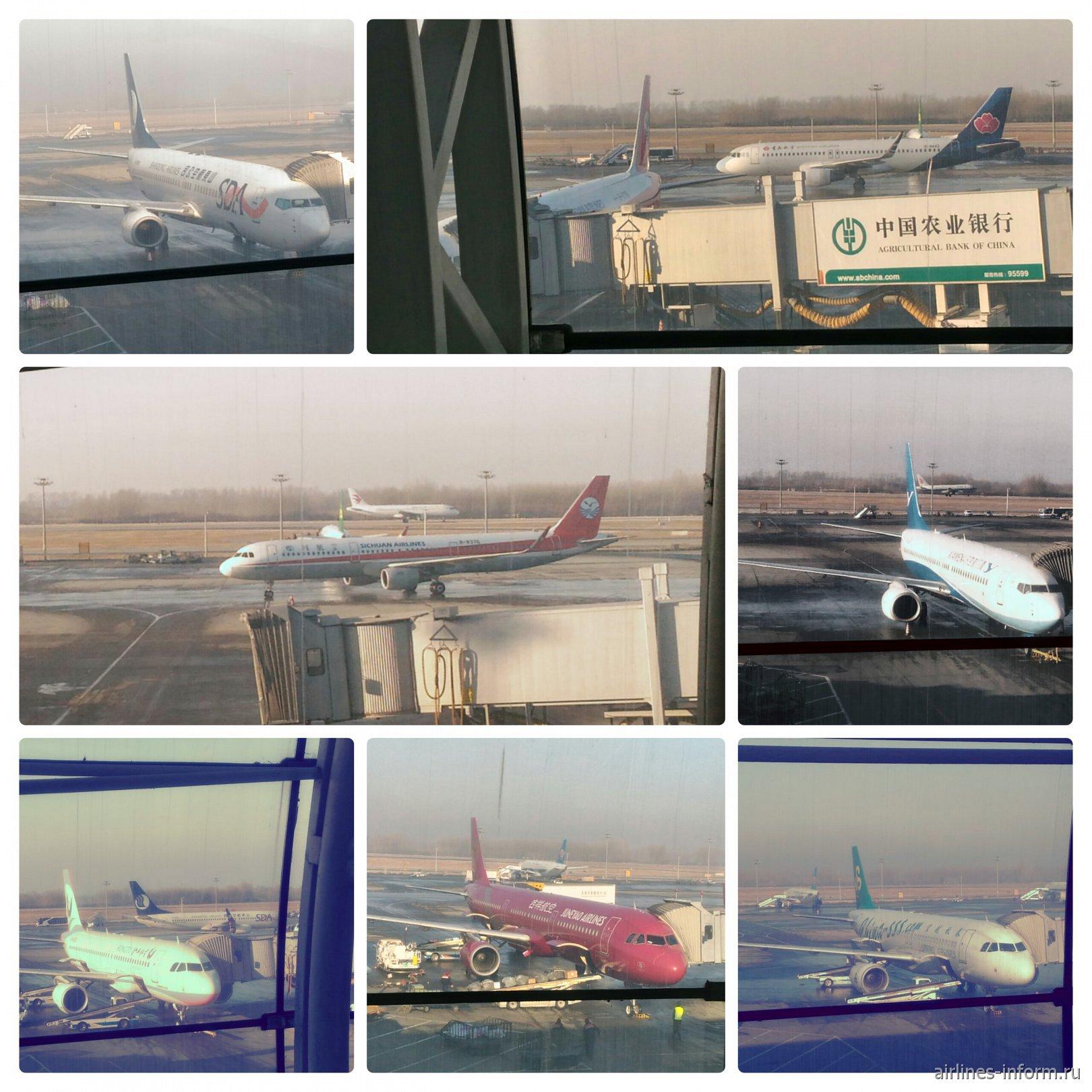 слева направо, сверху вниз: B737 Shandong Airlines, A320 Qingdao Airlines, A321 Sichuan Airlines, B-737 Xiamen Air, A320 Hongtu Airlines, A321 Juneyao Airlines, A320 Spring Airlines