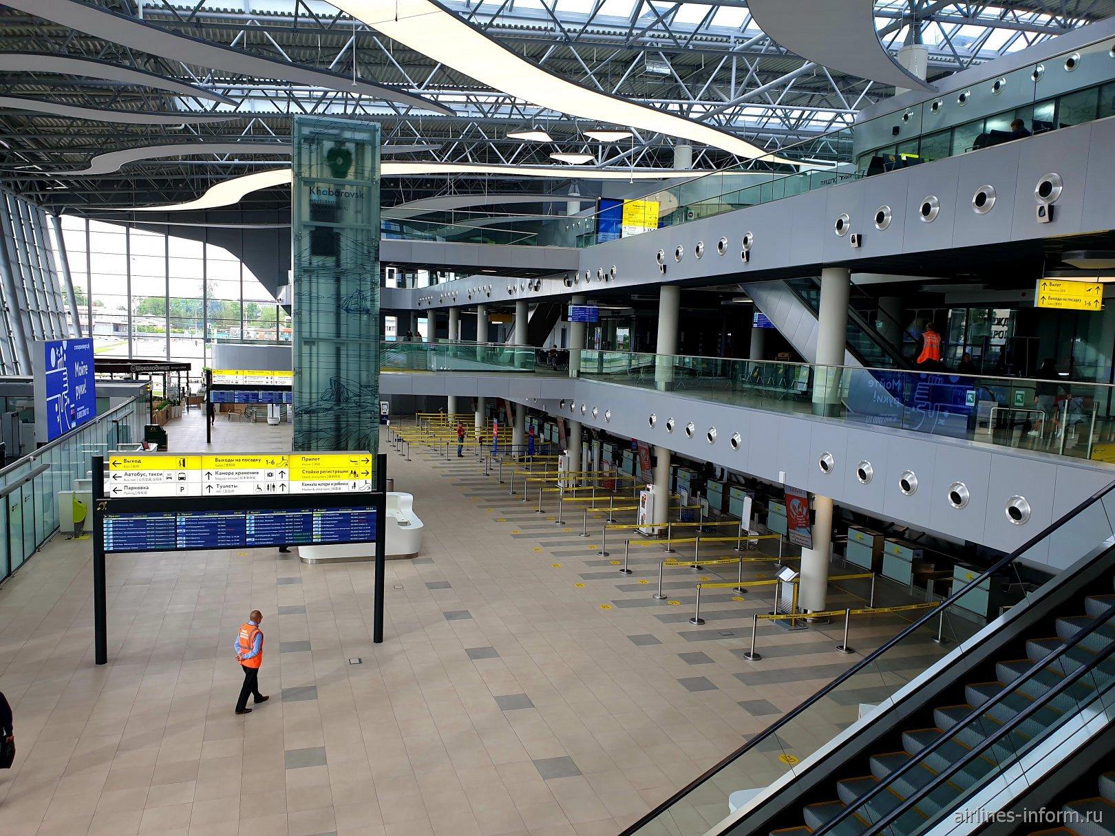 Общий зал нового терминала аэропорта Хабаровск Новый