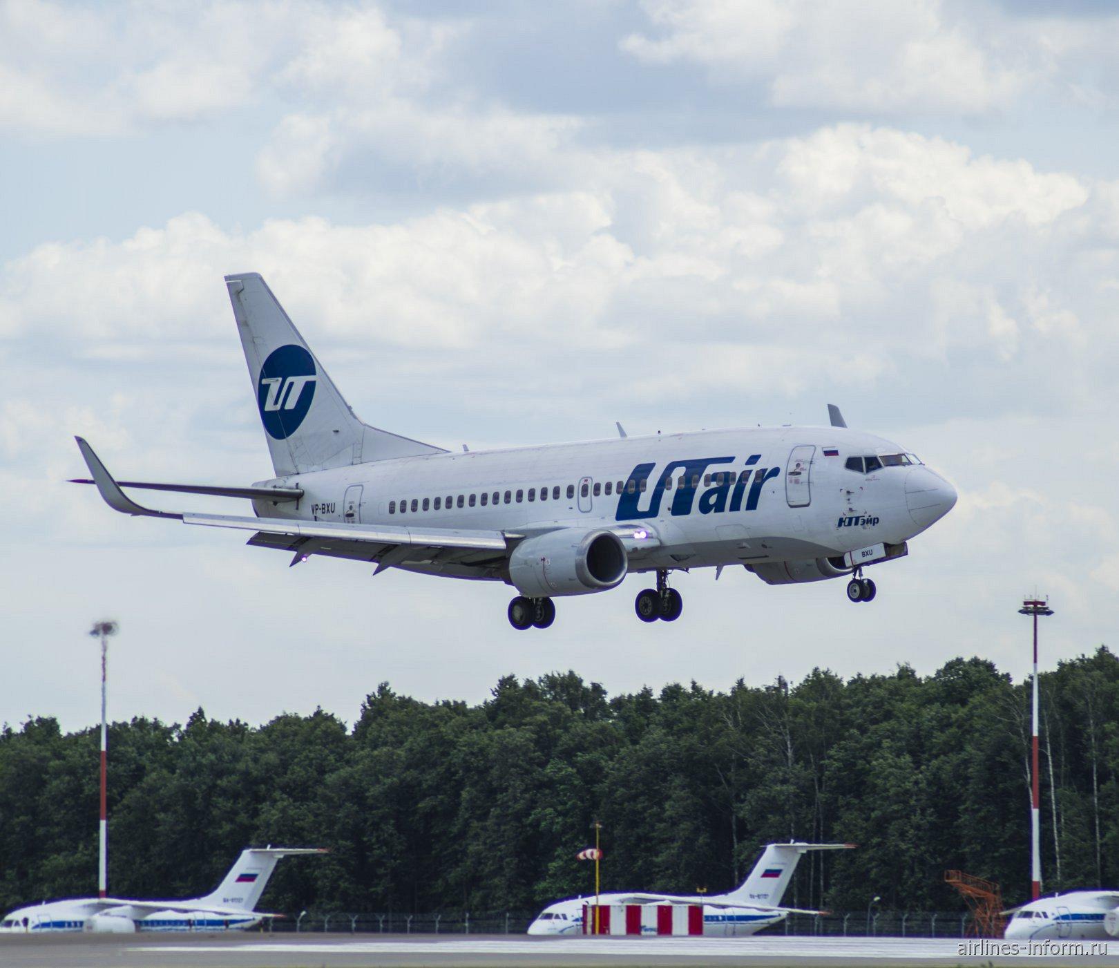 Боинг-737-500 VP-BXU авиакомпании UTair садится в аэропорту Внуково