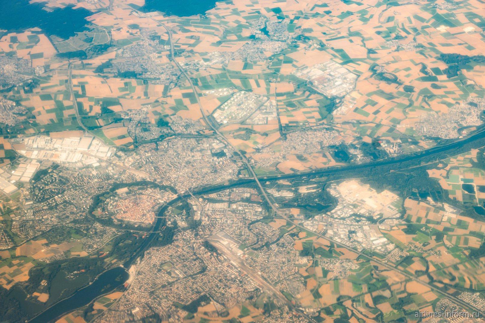 Вид сверху на город Инголштадт