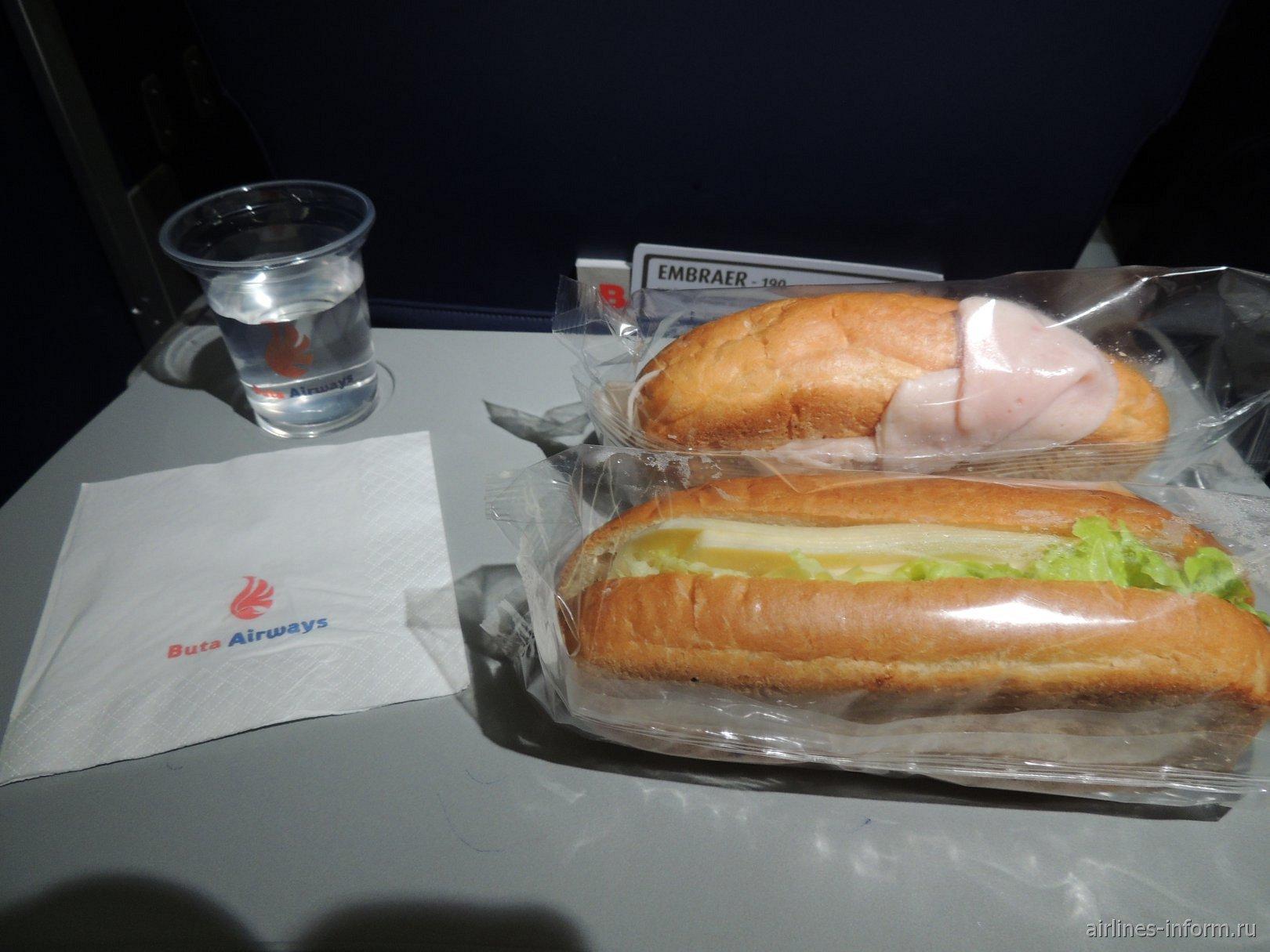 Бортовое питание на рейсе Buta Airways Москва-Баку