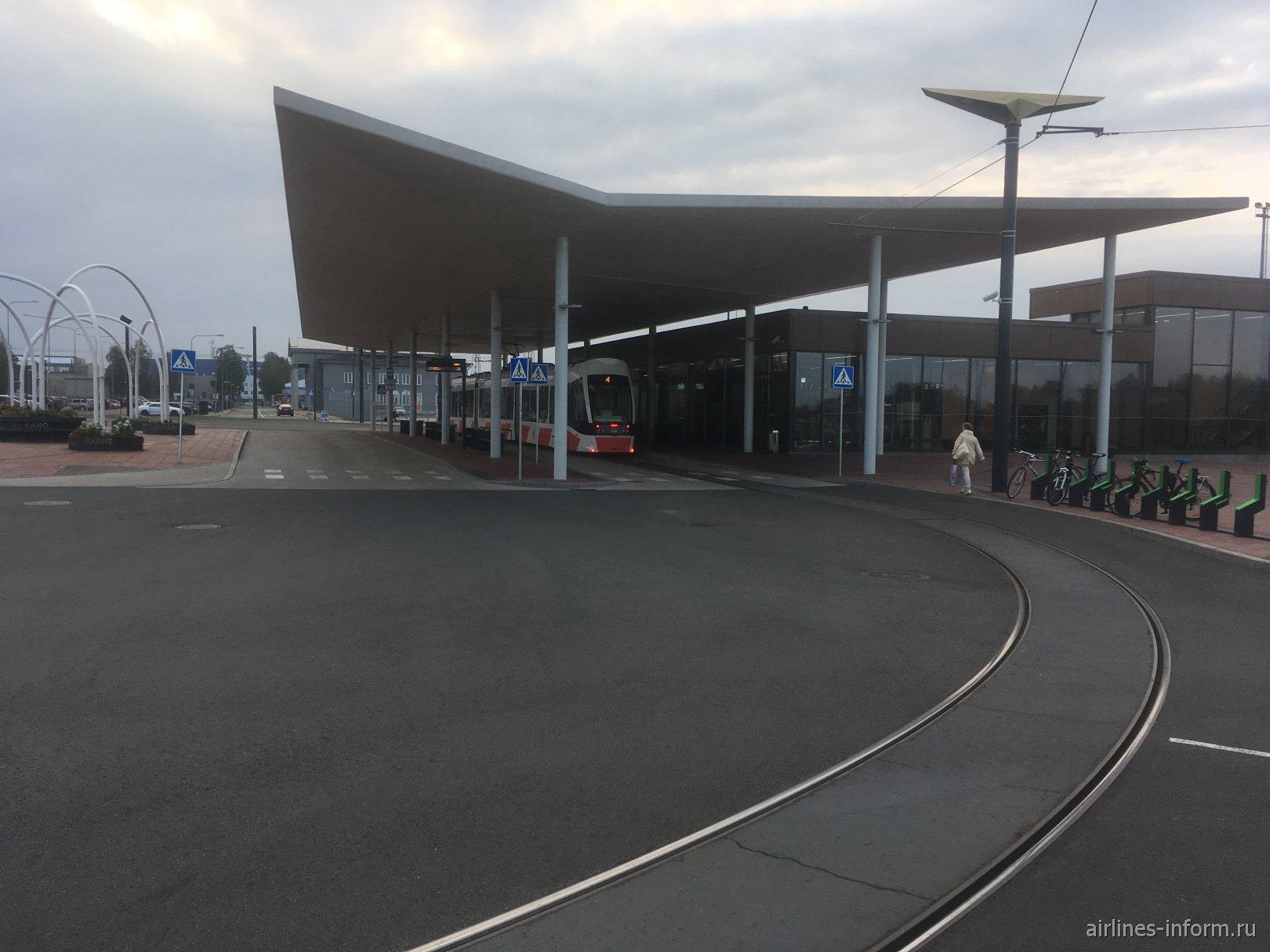 Трамвайная остановка в аэропорту Таллин
