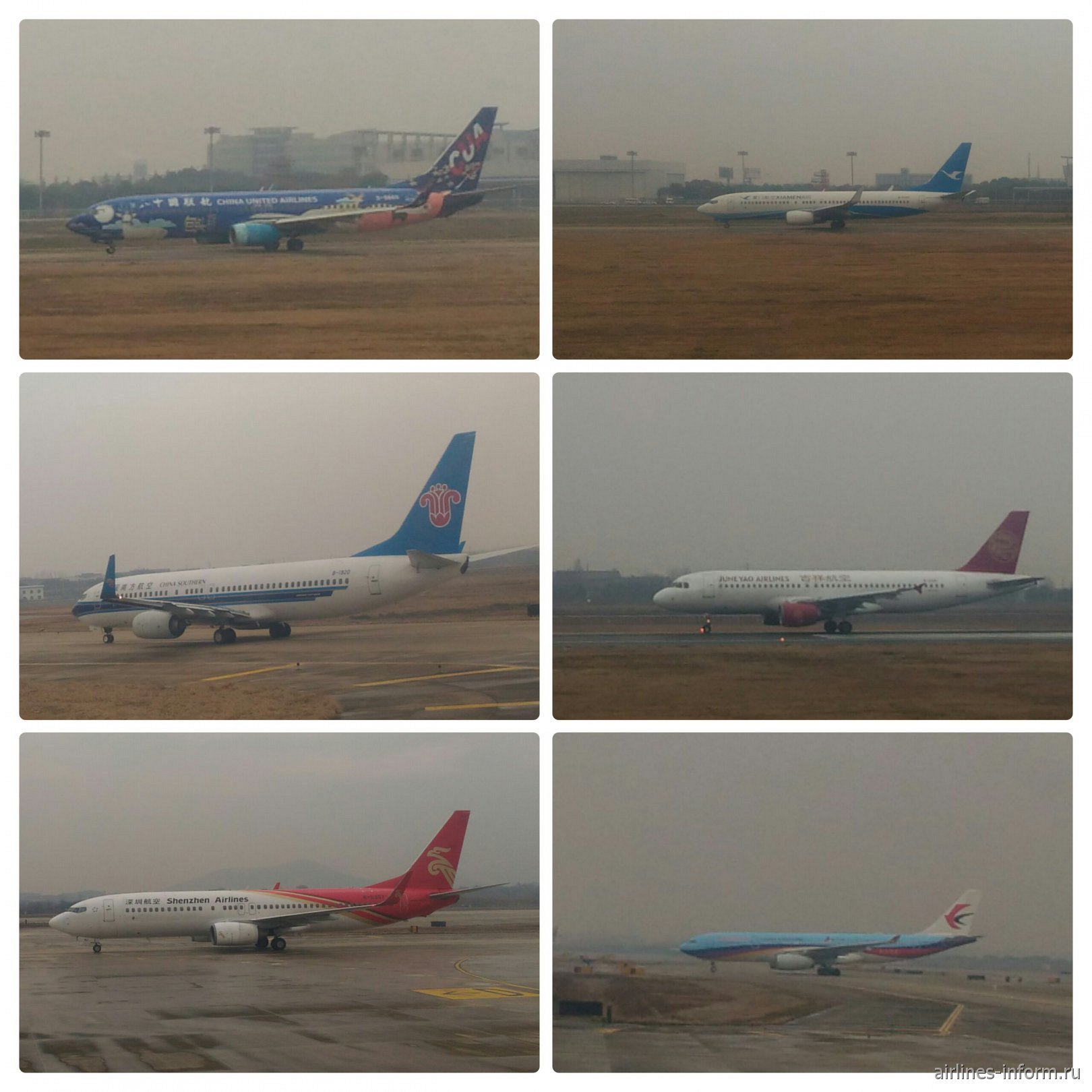 слева направо, сверху вниз: B-737 China United Airlines, B-737 Xiamen Air, B-737 China Southern Airlines, A320 Juneyao Airlines, B-737 Shenzhen Airlines, A333 China Eastern Airlines