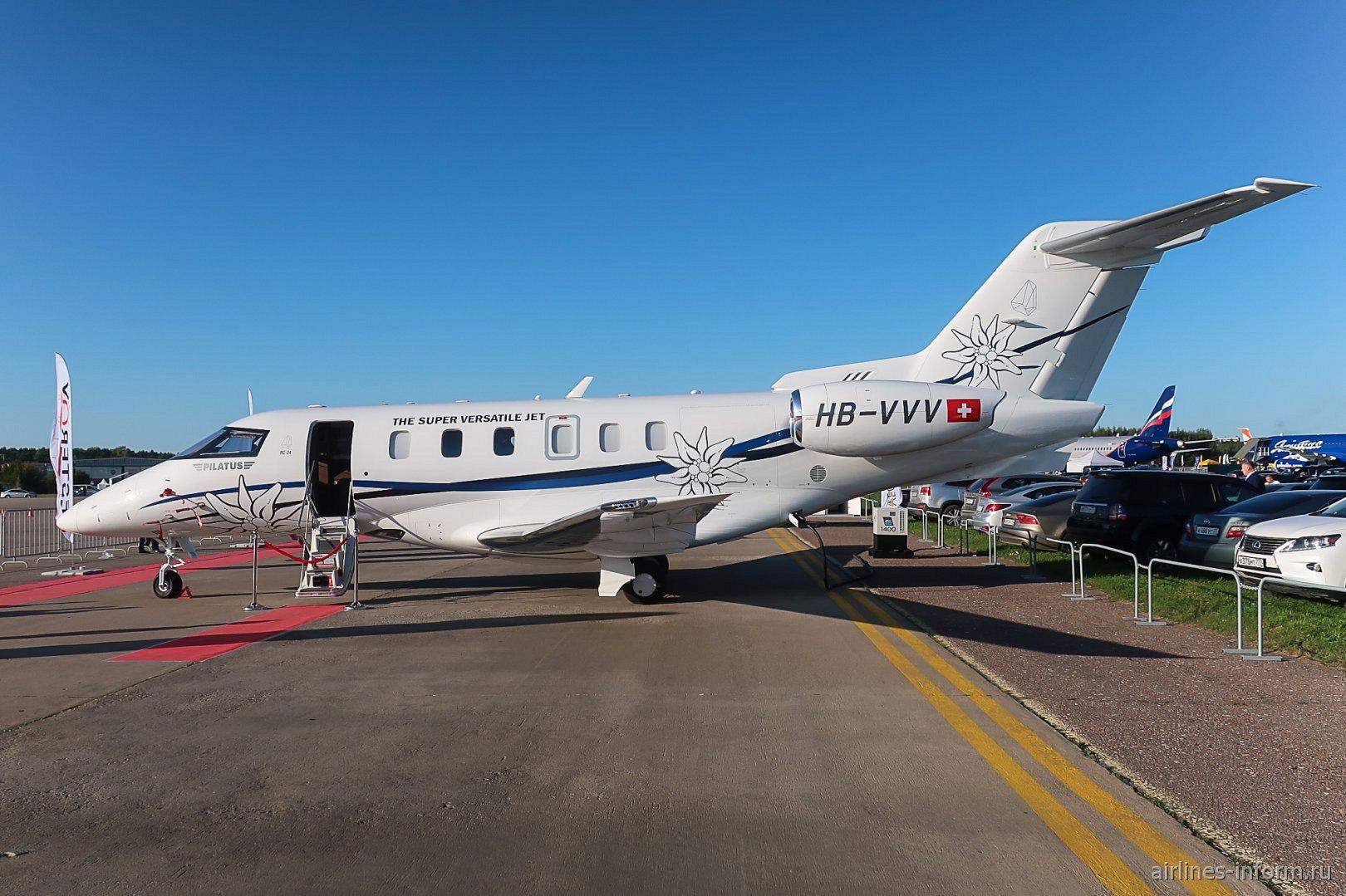 Бизнес-джет Pilatis PC-24 на авиасалоне МАКС-2019