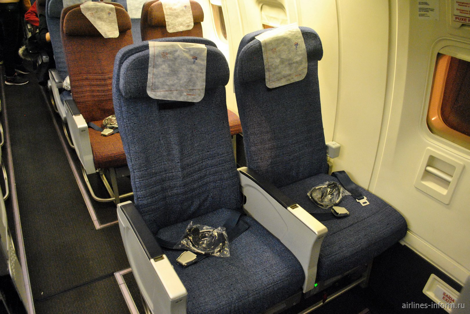 Места пассажиров эконом-класса в Боинге-767-300 авиакомпании LATAM Brasil