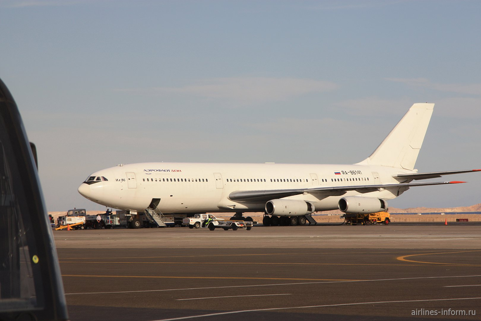Последний построенный ил-86 (RA-86141) в аэропорту Хургады. Принадлежит А/К ,,Аэрофлот-Дон''. Фото сделано 29 ноября