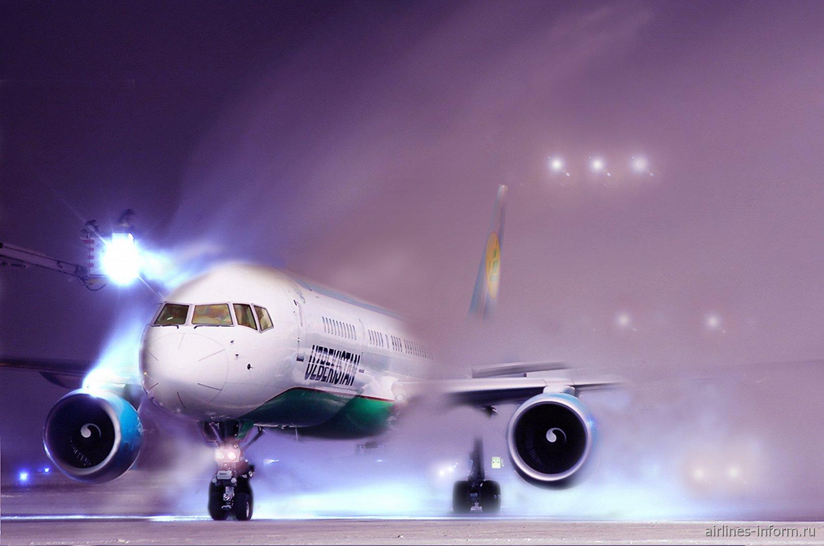 Облив самолета Боинг-757-200 Узбекских авиалиний