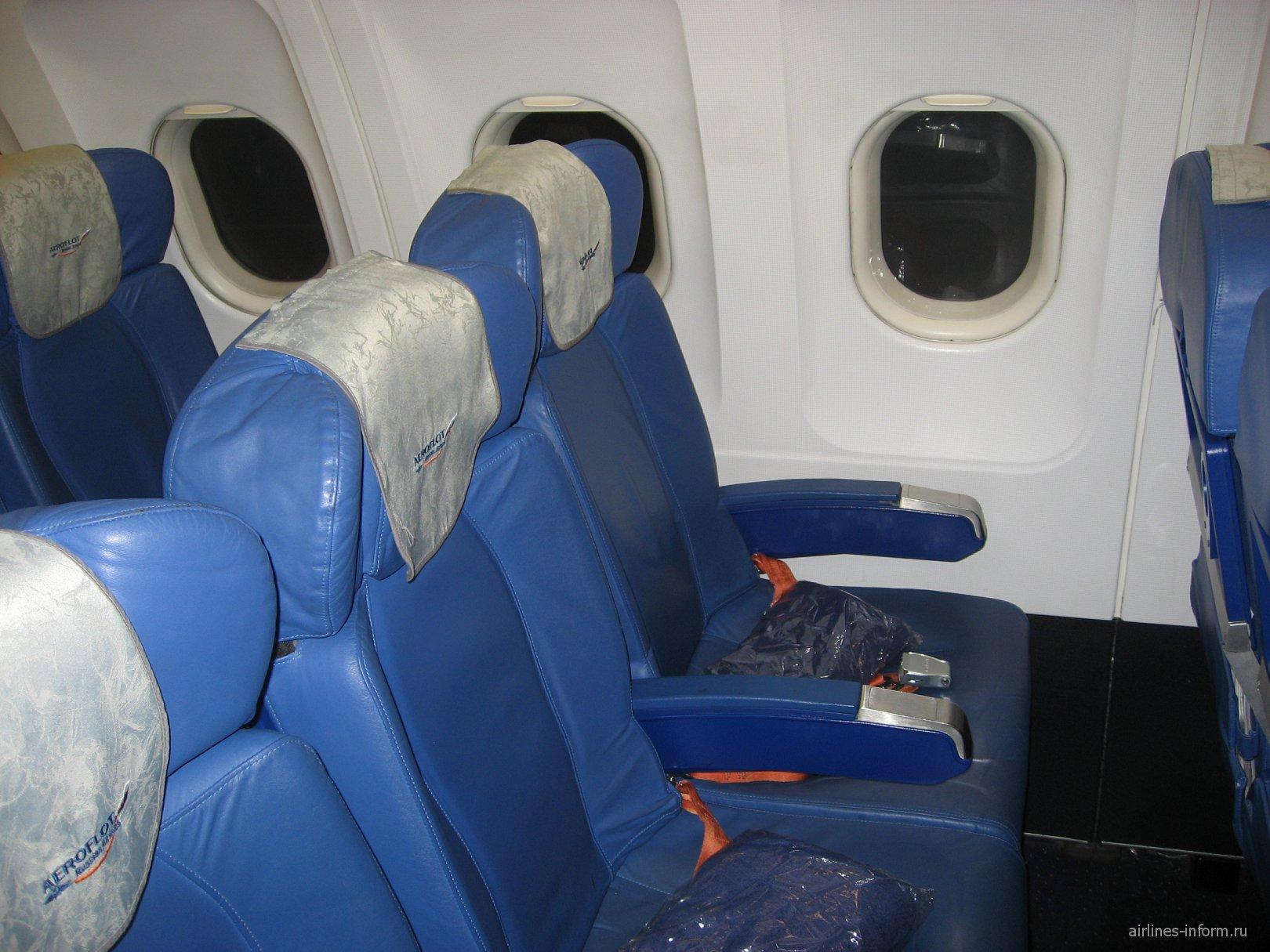 Пассажирские кресла в самолете Airbus A319 Аэрофлота