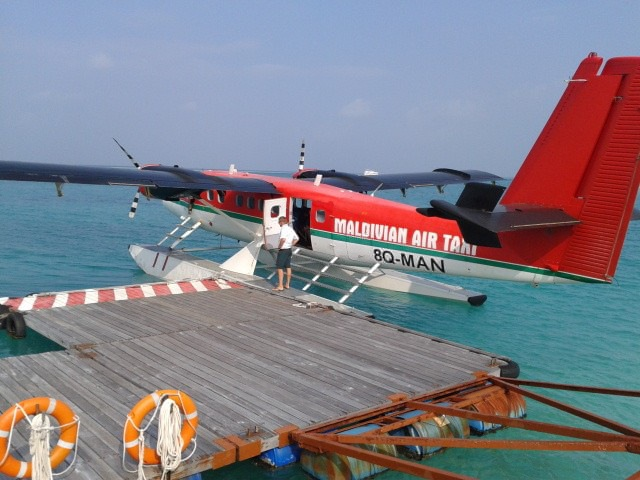 Return Flight on a Hydroplane in the Maldives