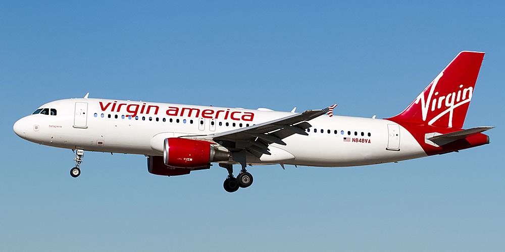 Самолет Airbus A320 авиакомпании Virgin America