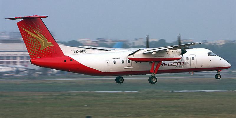 Самолет Bombardier Dash 8Q-300 авиакомпании Regent Airways