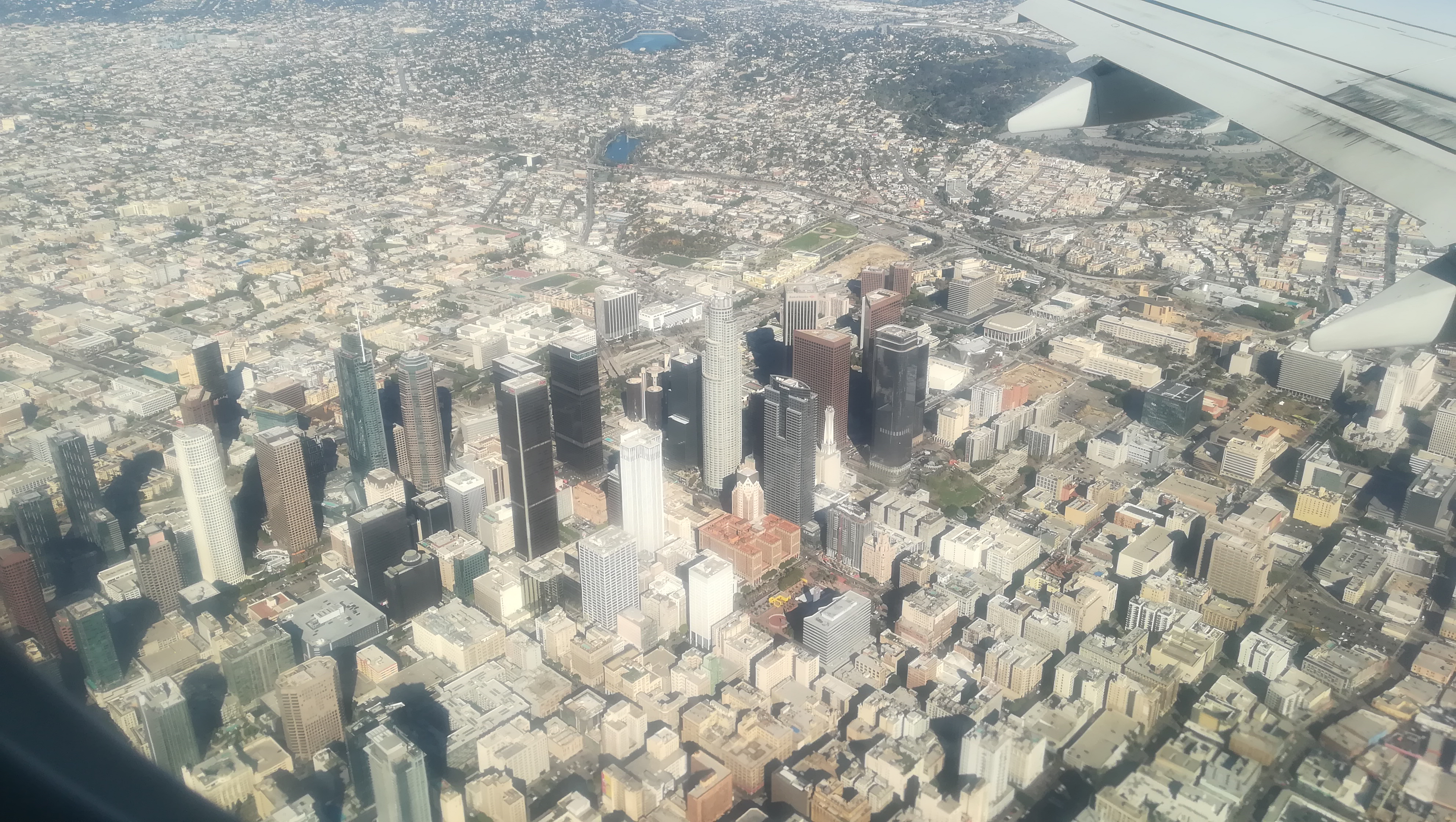 Downtown Los Angeles, the flight from San Francisco to LA, 29 Dec 2018