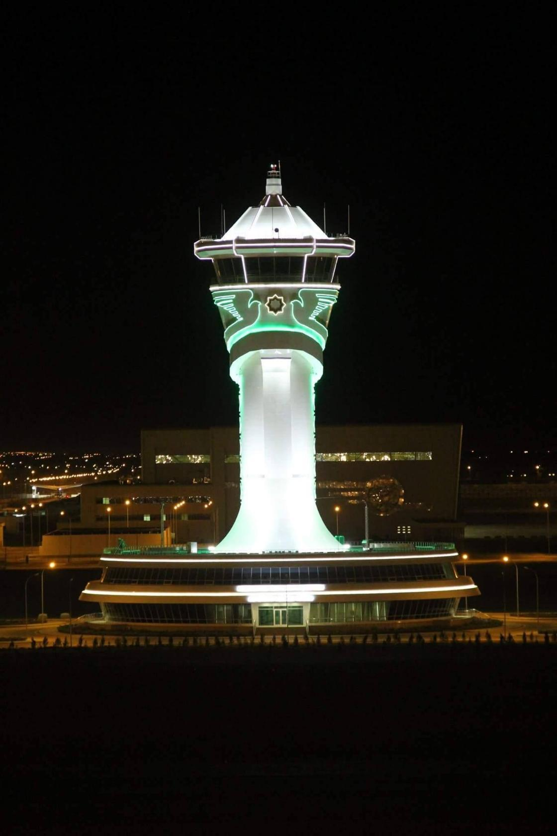 The control tower at the airport of Ashgabat