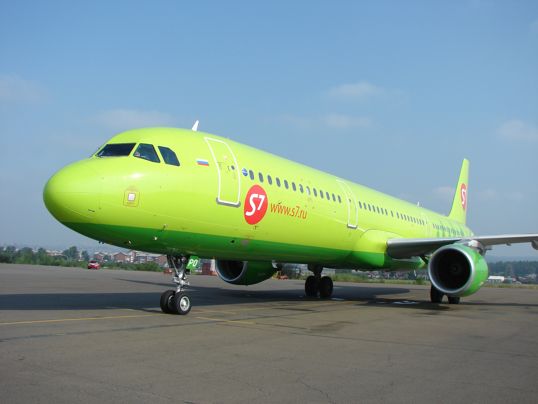 Airbus A321 S7 Airlines в аэропорту Иркутска