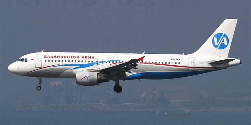Самолет Airbus A320 авиакомпании Владивосток Авиа