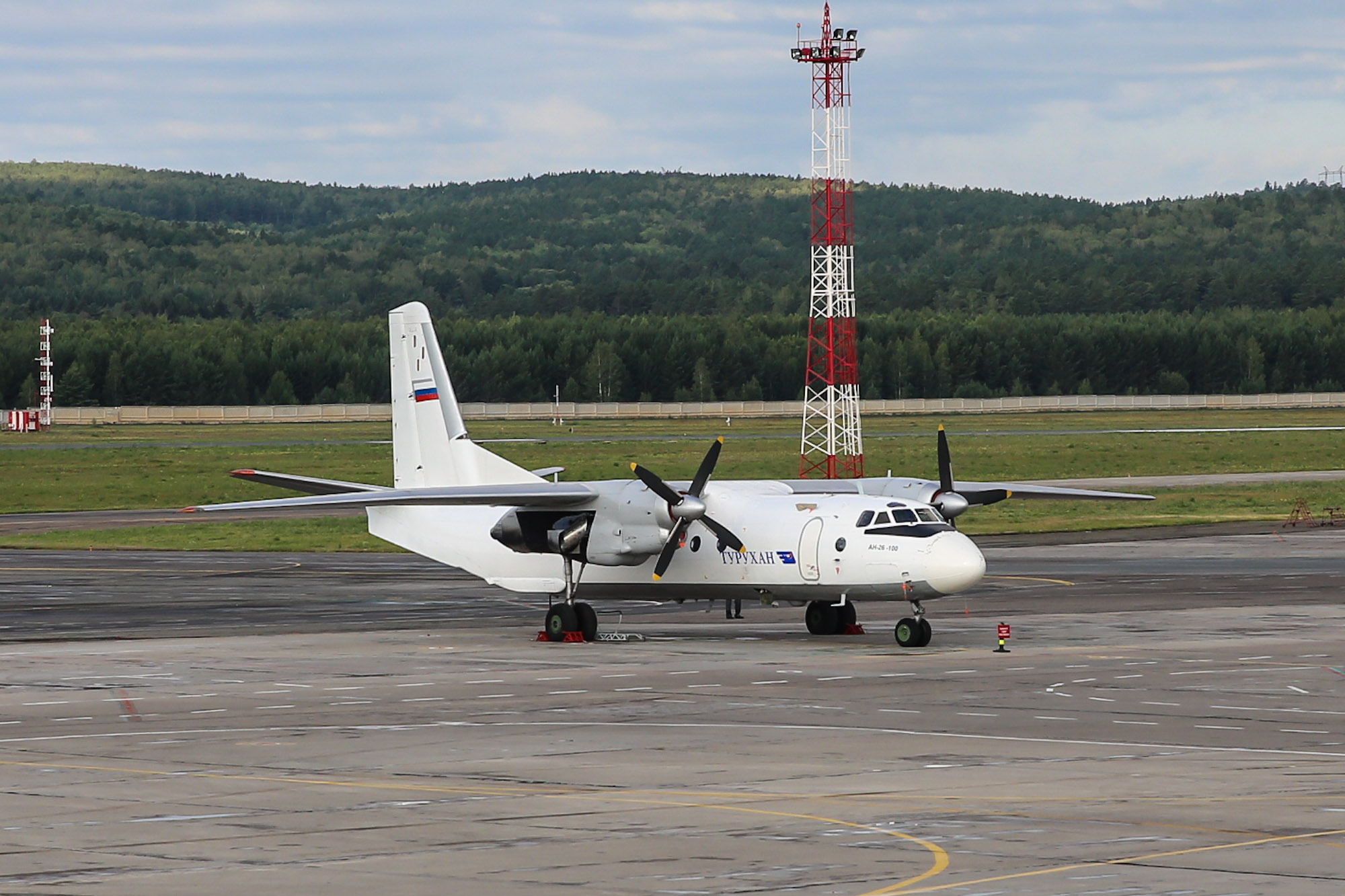 "Antonov an-26-100 of airline ""turuhan"" the airport Krasnoyarsk-Emelyanovo"
