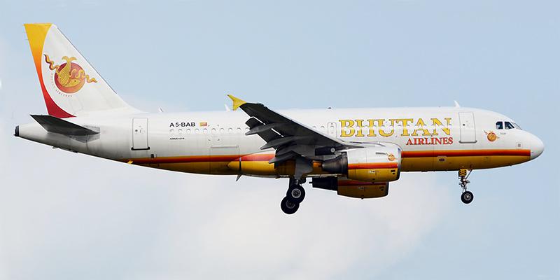 Самолет Airbus A320 авиакомпании Bhutan Airlines