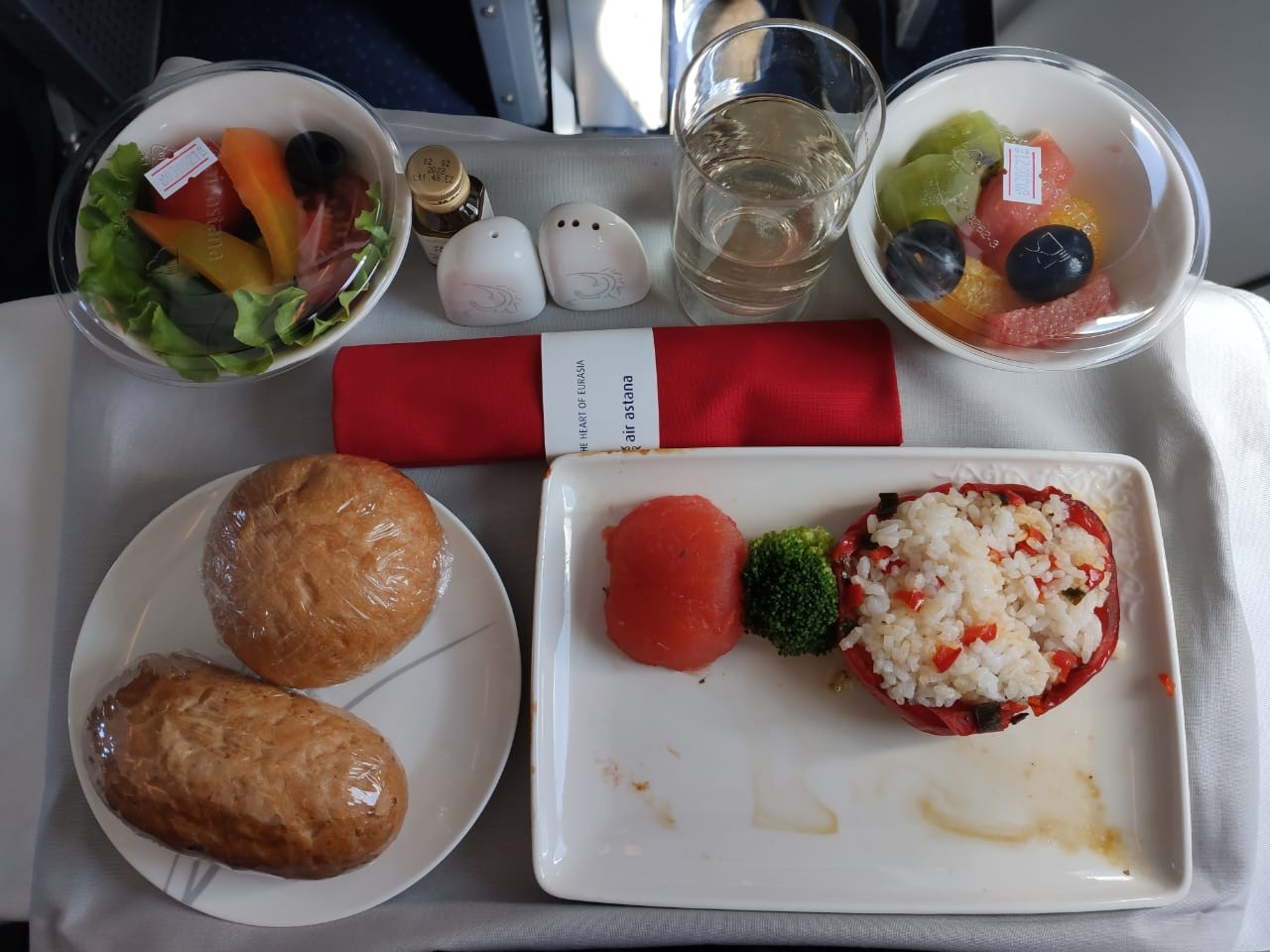 Cold snacks in business class of Air Astana on the flight Shymkent-Almaty, 2021
