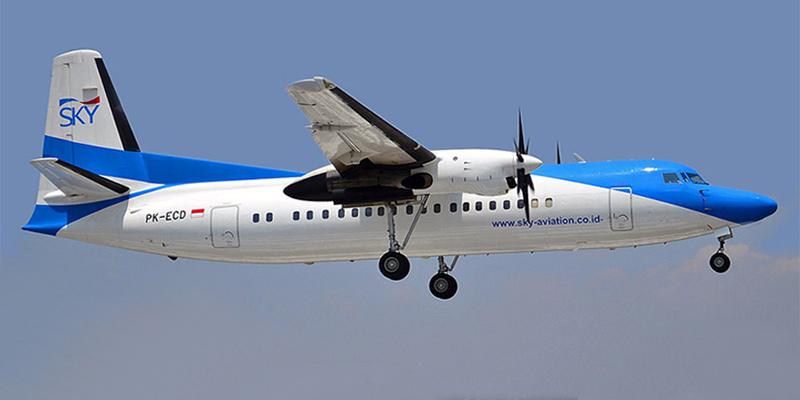 Самолет Фоккер-50 авиакомпании Sky Aviation