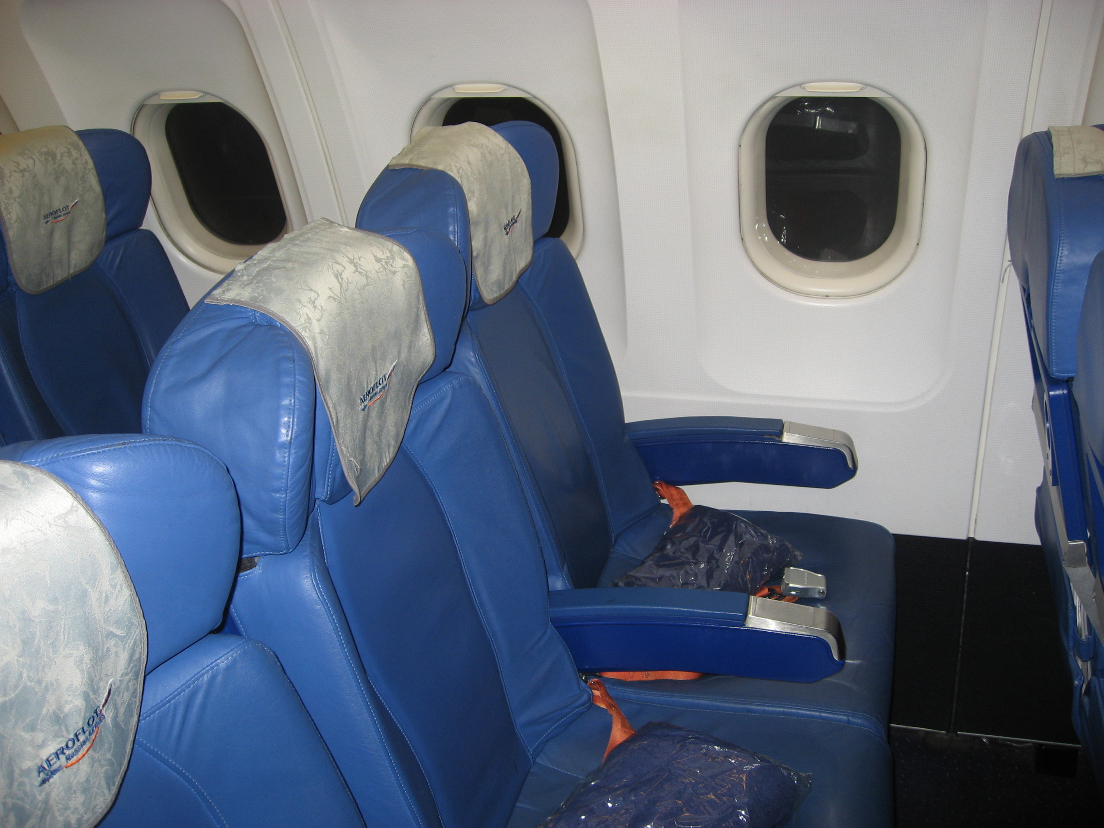 The passenger seats in the Airbus A319 Aeroflot
