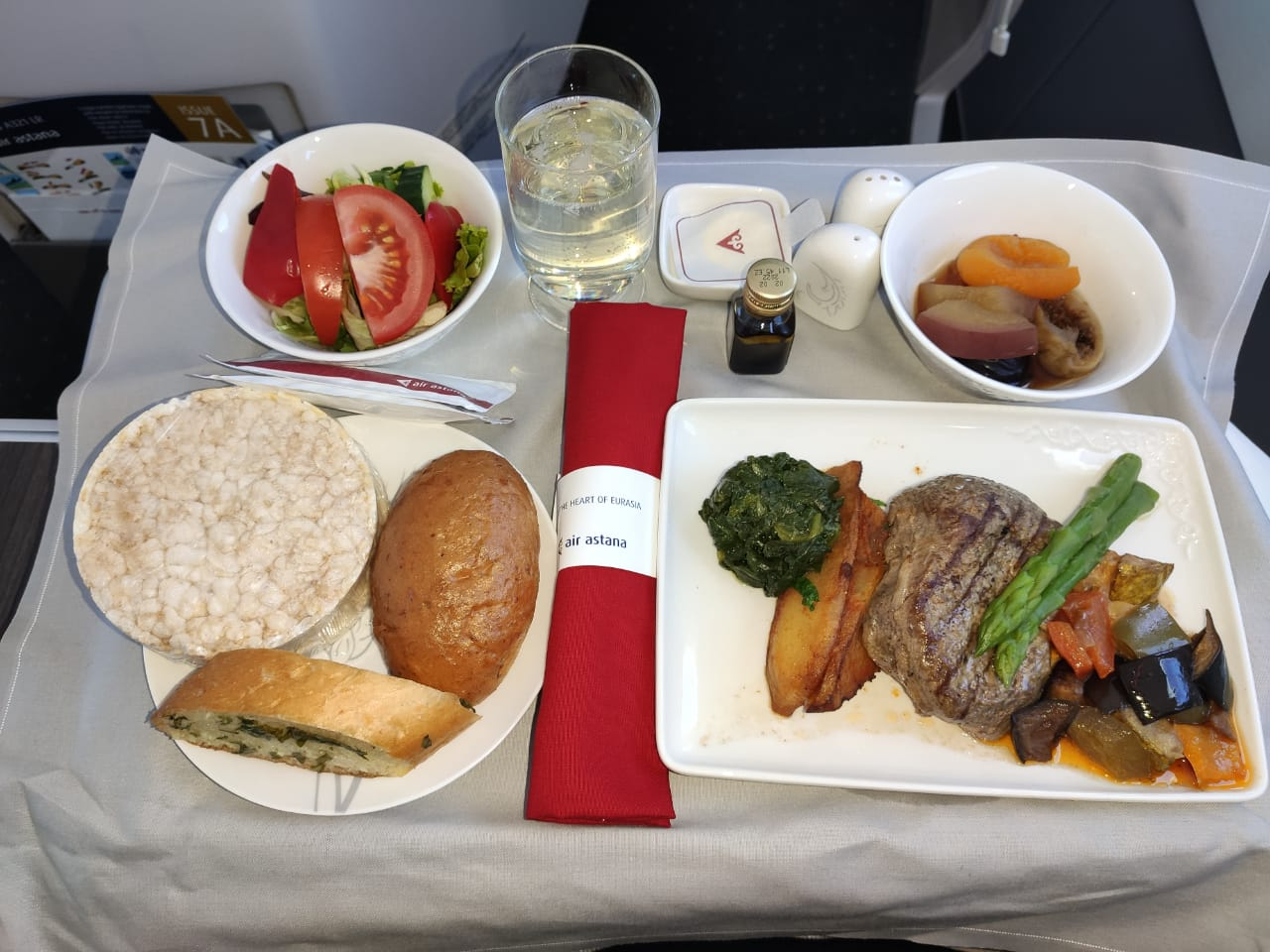 Meals in business class Air Astana on the Almaty-Kyzylorda flight, 2021