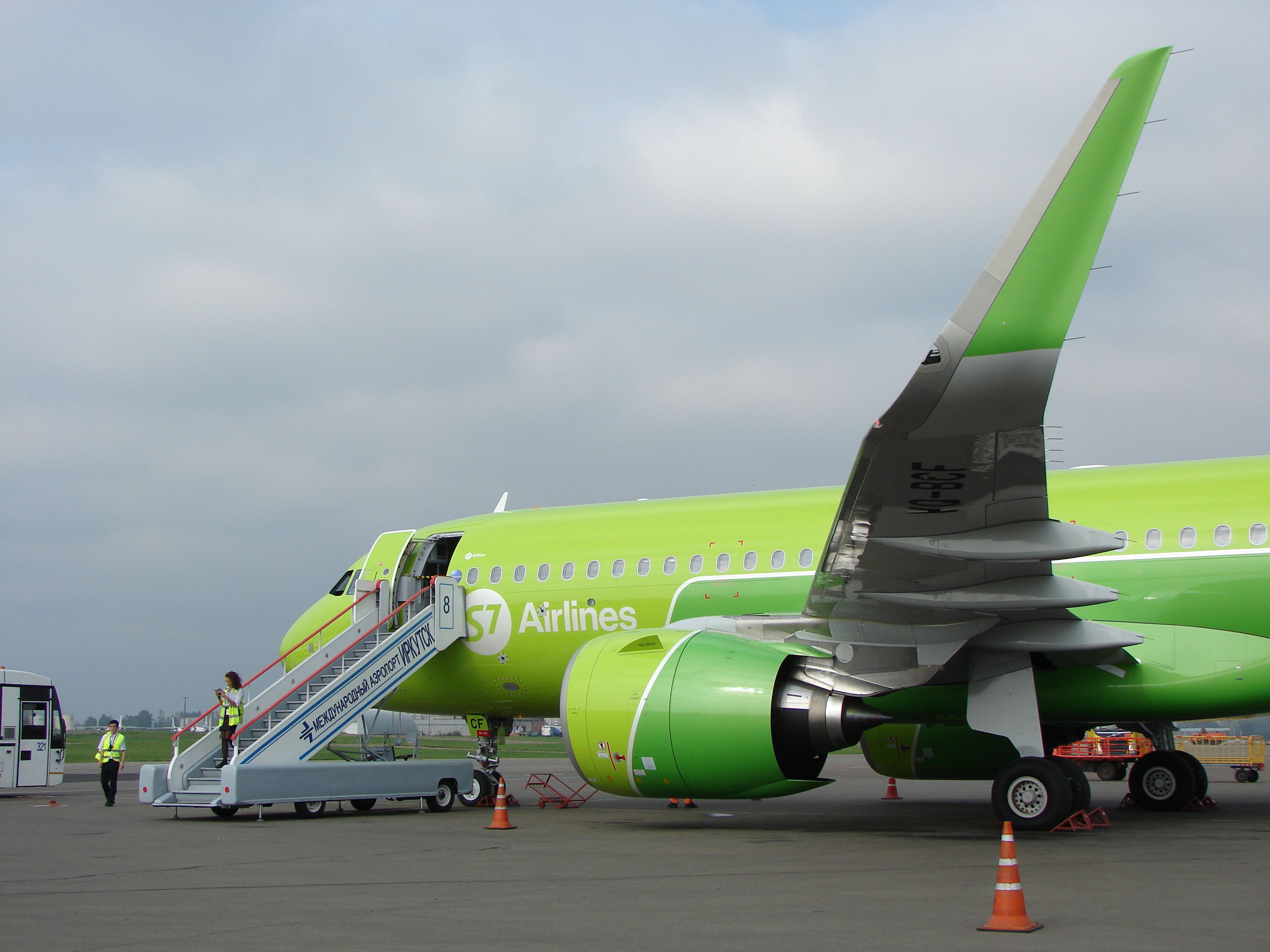 Service A320neo S7 Airlines in the airport of Irkutsk