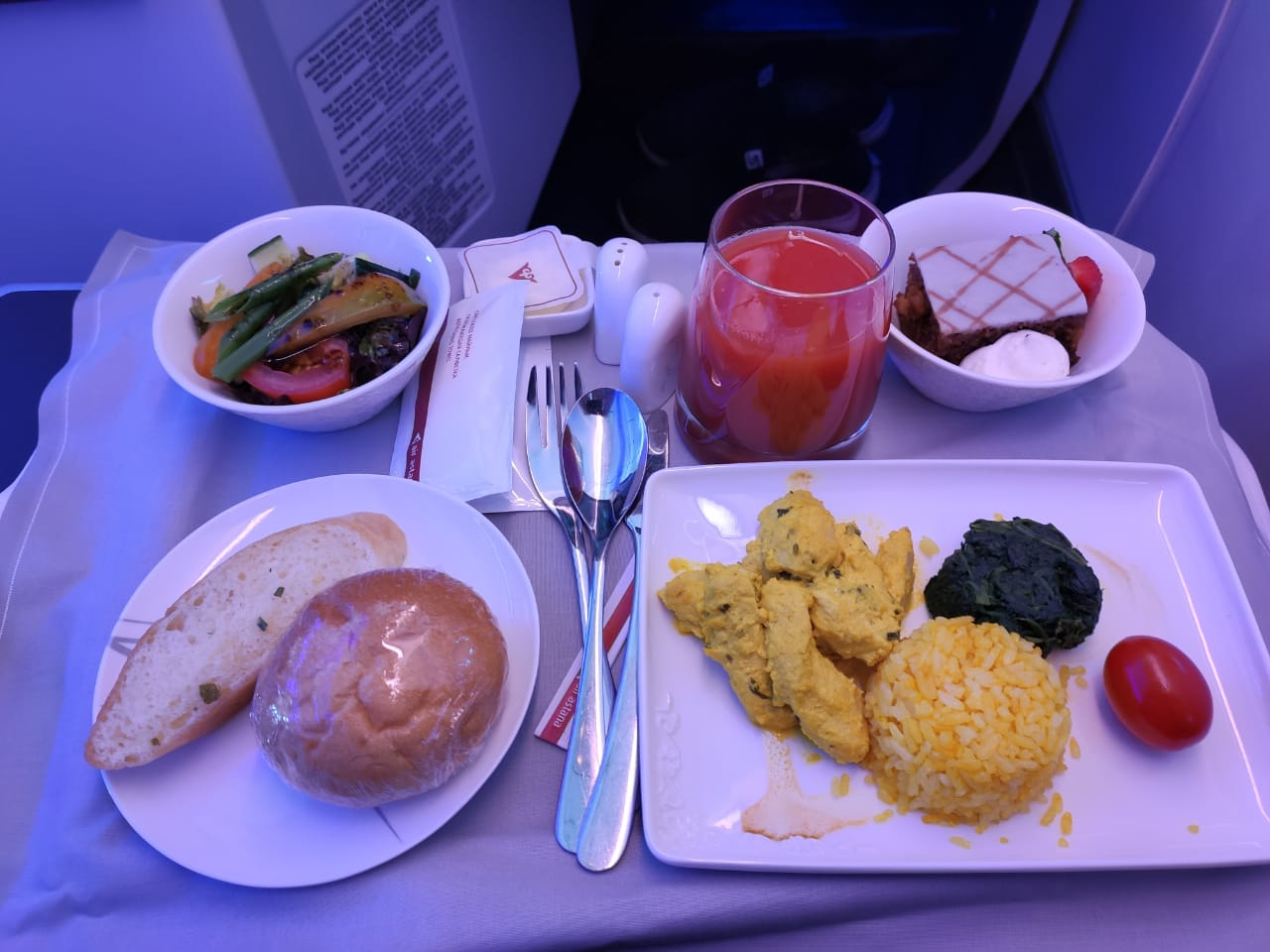 Meals in business class Air Astana on the Kyzylorda-Almaty flight, 2021