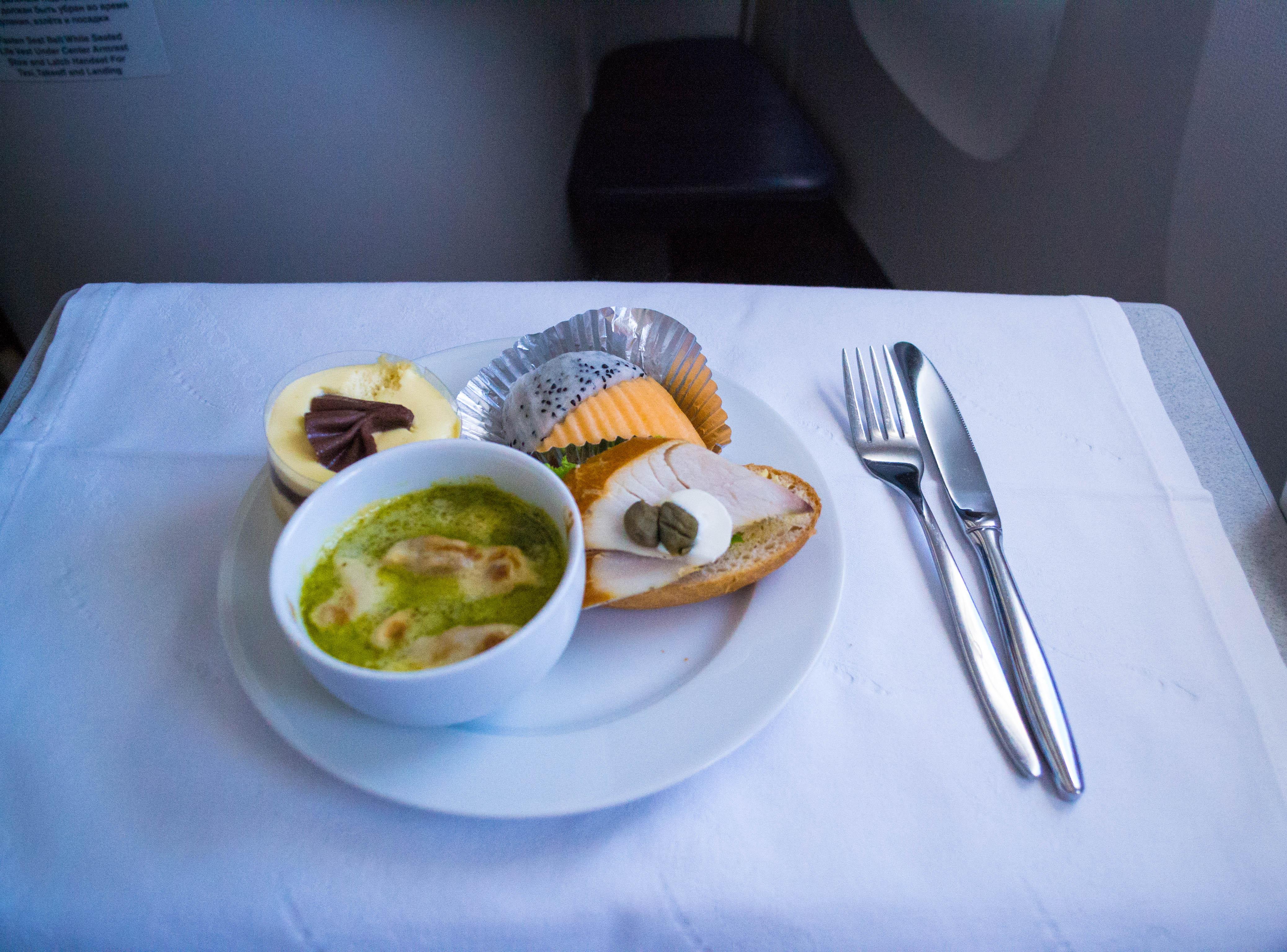 Light snack in Business class of Aeroflot