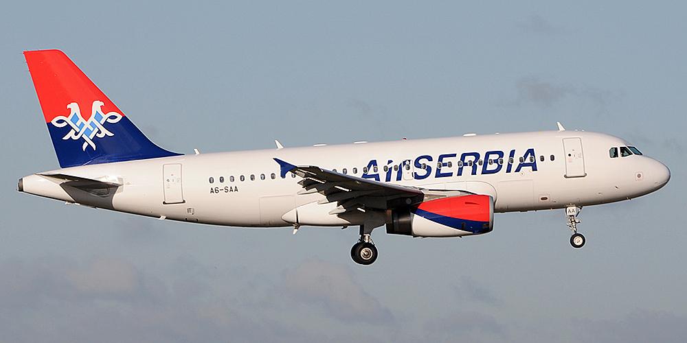 Самолет Airbus A319 авиакомпании Air Serbia