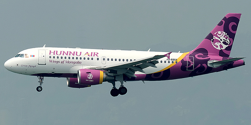 Airbus A319 авиакомпании Hunnu Air