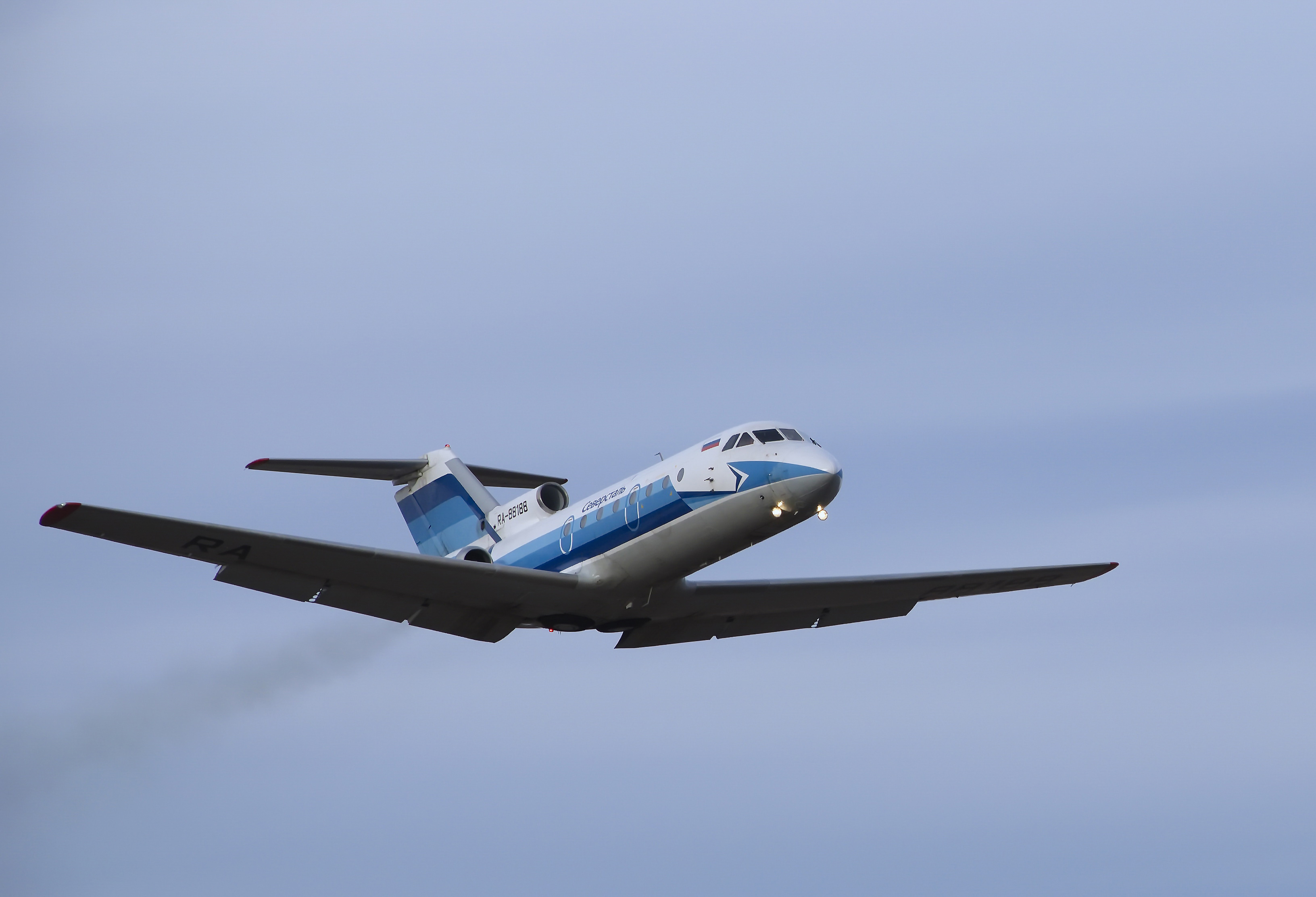 Yak-40 RA-88188 takes off from airport Veliky Ustyug