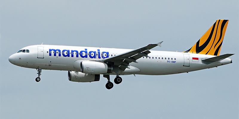 Самолет Airbus A320 авиакомпании Mandala Airlines