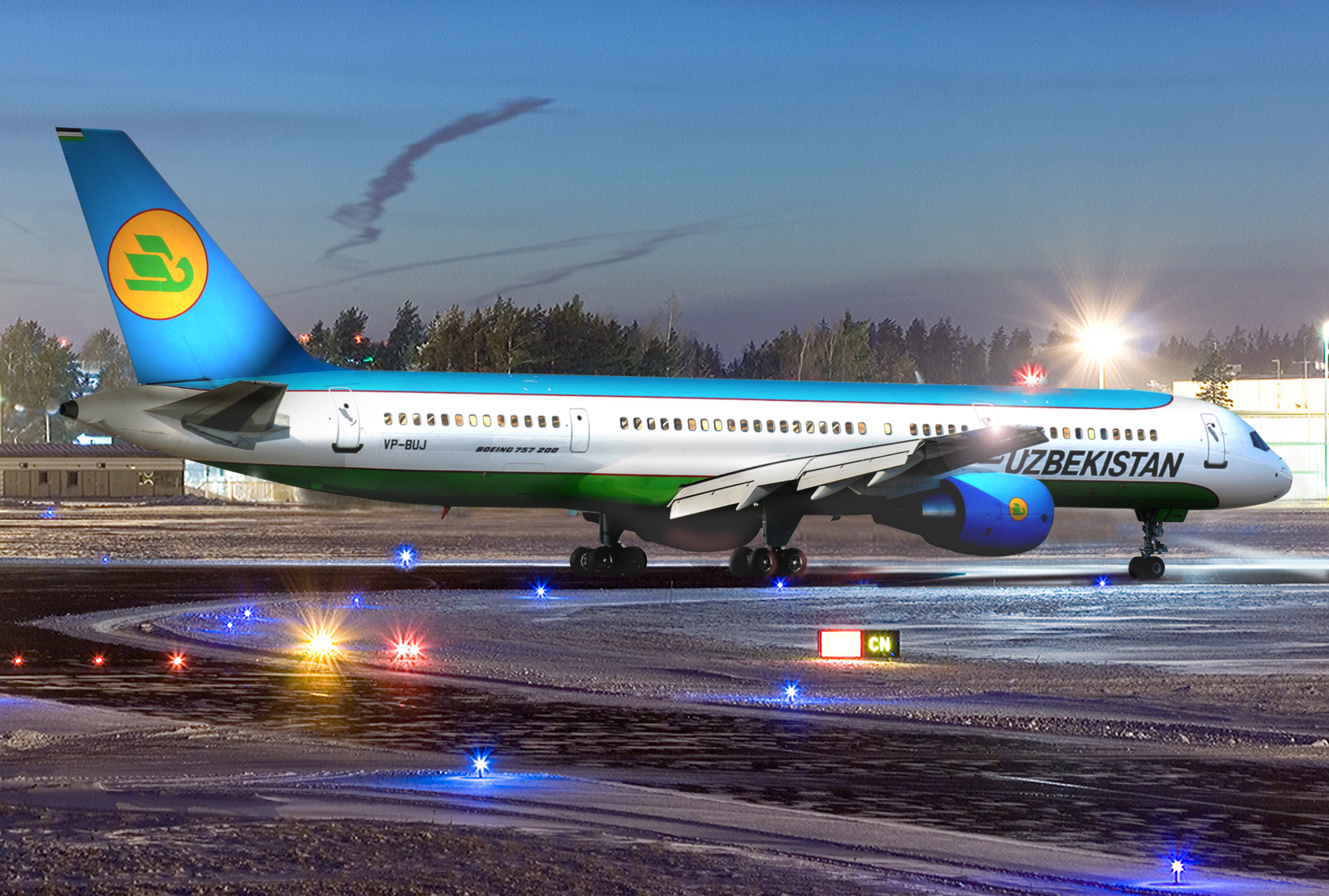 Самолет Боинг-757-200 Узбекских авиалиний, борт VP-BUJ, в аэропорту Ташкента