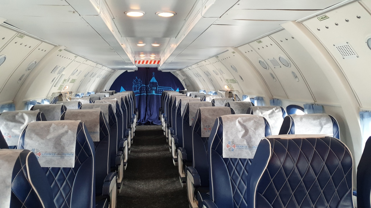 The passenger cabin of the An-26B-100 RA-26133 aircraft of the Kostroma aviation enterprise