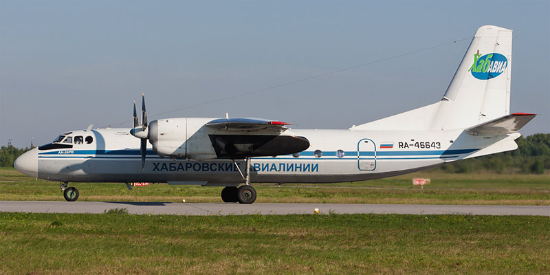 Самолет Ан-24 Хабаровских авиалиний