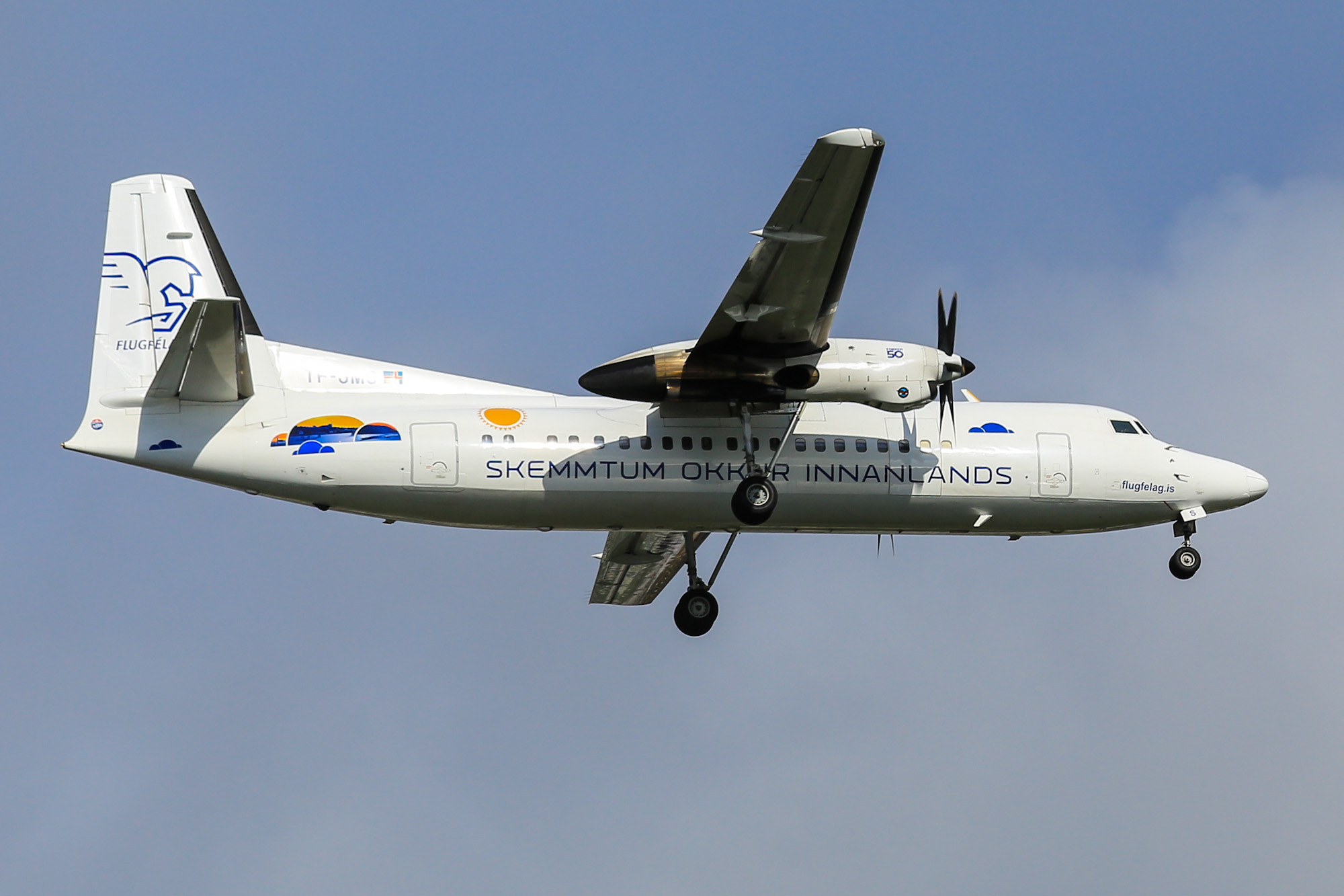 The plane Fokker-50 operated by Air Iceland
