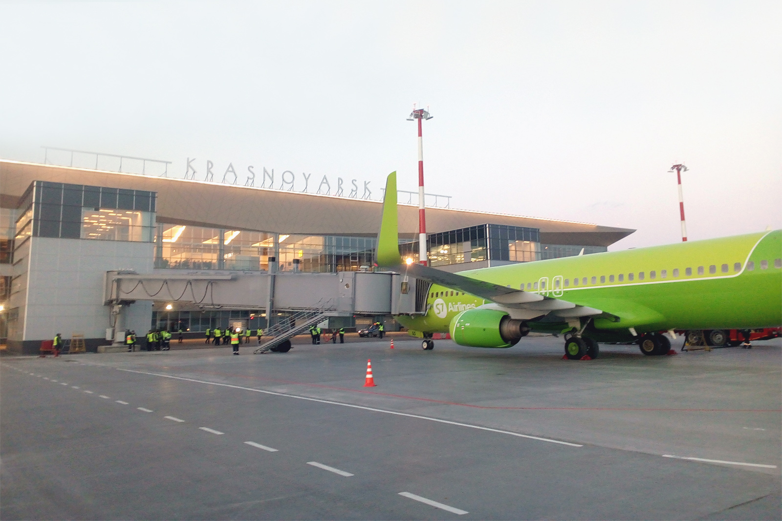 The new terminal of the international airport of Krasnoyarsk with boarding bridges