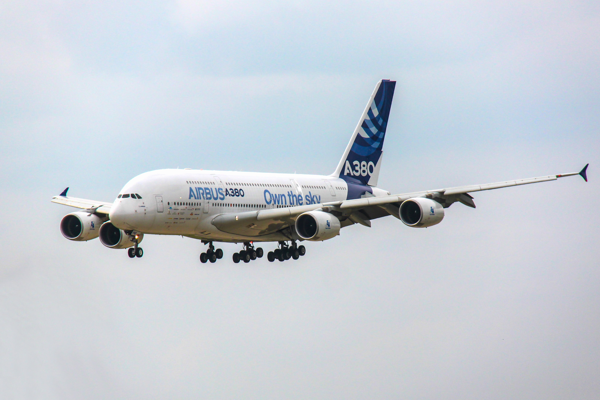 The Airbus A380 in flight at MAKS-2013