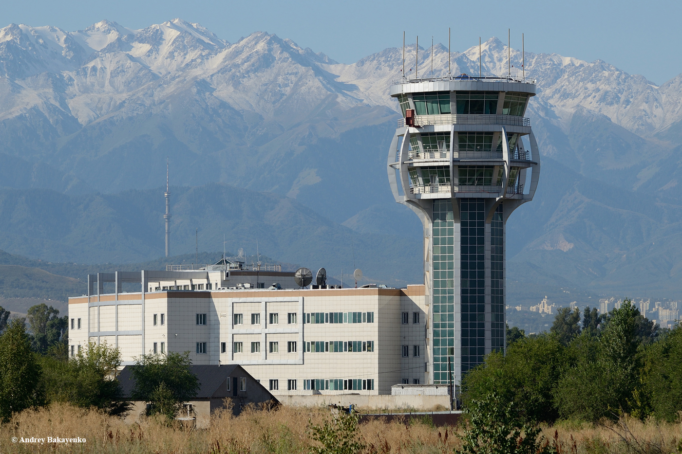 The air traffic control tower at the Almaty airport. August 2019.