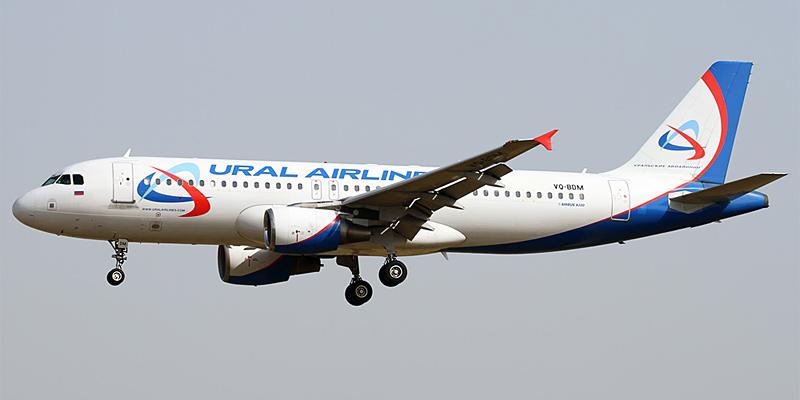 Самолет Airbus A320 Уральских авиалиний