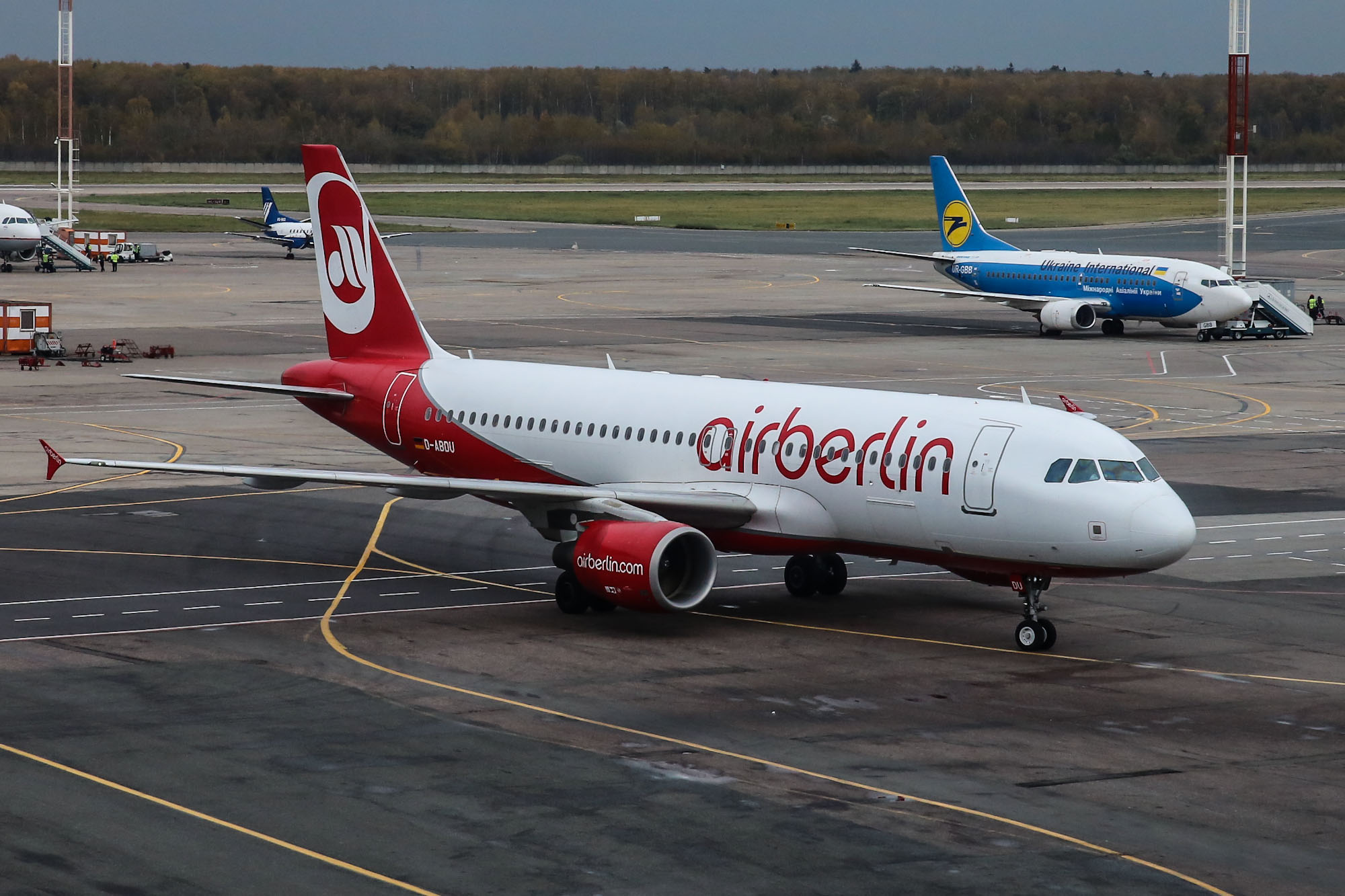 An Airbus A320 of Air Berlin at the airport Domodedovo